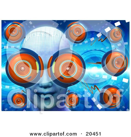 Clipart Illustration of a Woman's Face With Webcam Eyes, Surrounded By Other Web Cams On A Blue Futuristic Background by Tonis Pan