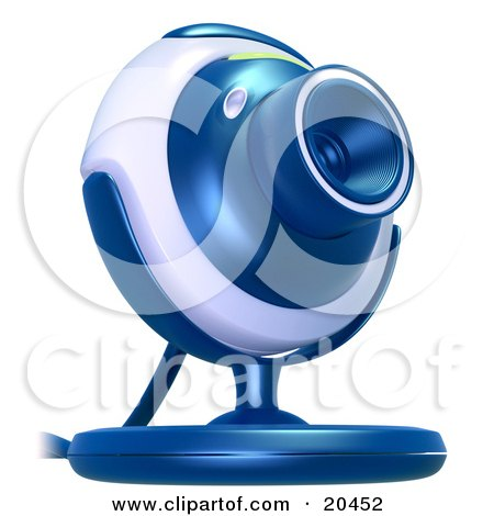 Clipart Illustration of a Blue And Gray Web Camera Pointinted Slightly Upwards, Over A White Background by Tonis Pan