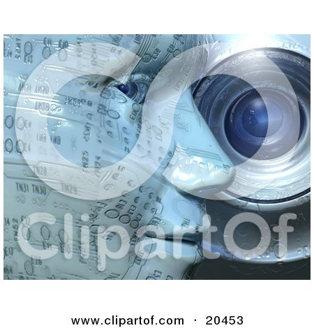 Clipart Illustration of a Cyber Humanoid Being With Pale Blue Skin In Profile, Leaning Against A Webcam Lense And Looking At The Viewer With Its Eye by Tonis Pan
