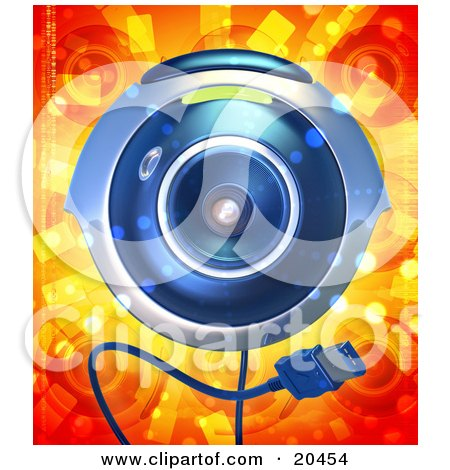 Clipart Illustration of a Blue Computer Webcam With A USB Cable, Facing Front Over A Red And Orange Background by Tonis Pan