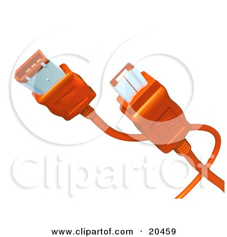 Clipart Illustration of Both Ends Of An Orange Firewire Cable Over A ...