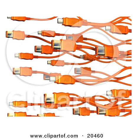 Clipart Illustration of a Background Of Orange Electronic, Computer Hardware FireWire Cables Over A White Background by Tonis Pan