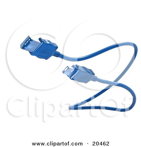 Clipart Illustration of a Blue Electronic, Computer Hardware FireWire Cable, Over A White Background by Tonis Pan