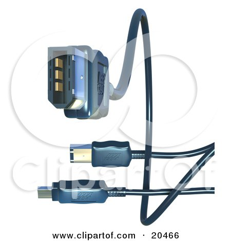 Clipart Illustration of Black Electronic, Computer Hardware FireWire Cables Over A White Background by Tonis Pan