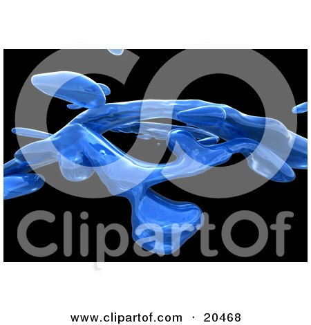 Clipart Illustration Of Clear Blue Liquid Trails Over A Black Background by Tonis Pan