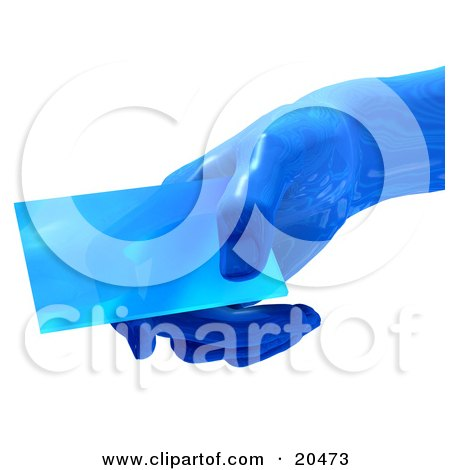 Clipart Illustration Of A Blue Glass Futuristic Hand Holding A Blank Business Card, Over A White Background by Tonis Pan
