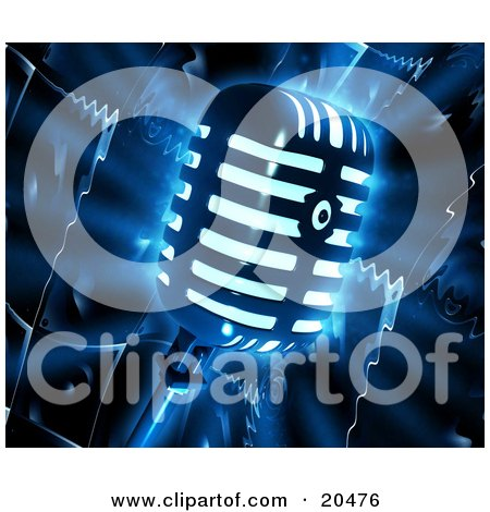 Clipart Illustration of a Glowing Retro Microphone Over A Dark Liquifying Speaker Background by Tonis Pan