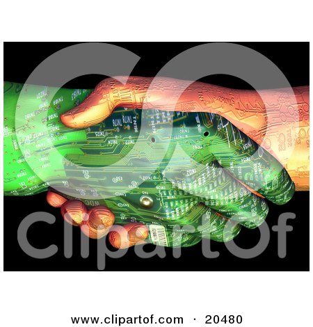 Clipart Illustration of Two Circuit Robot Hands, One Tan, One Green, Shaking Hands by Tonis Pan