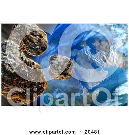 Three Meteors Above Earth, Speeding Towards The Moment Of Devastating Impact Posters, Art Prints