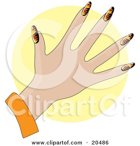 Clipart Illustration of a Woman's Hand With Acrylic Flame Design Fingernails After A Manicure, Over A Yellow Circle by Maria Bell