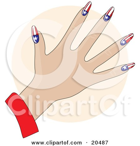Clipart Illustration of a Woman's Hand With Acrylic Americana Stars And Stripes Fingernails After A Manicure, Over A Tan Circle by Maria Bell