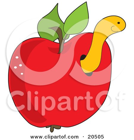 Clipart Illustration of a Cute Yellow Worm Peeking Out Of A Hole In A Red Apple by Maria Bell