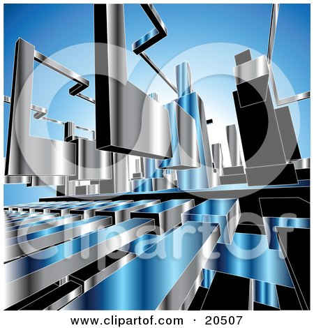 Background Of Chrome Machine Parts Over Blue Posters, Art Prints