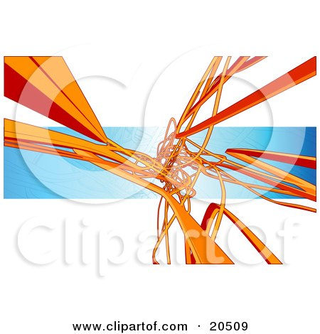 Clipart Illustration of a Background Of Orange Flat Pipes Winding, Curving And Tangling Over A Blue And White Background by Tonis Pan