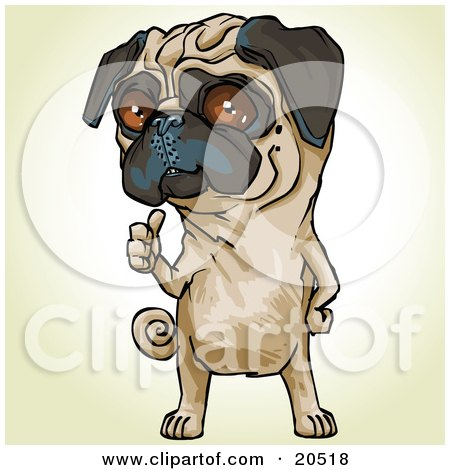 Clipart Illustration of a Bossy Pug Dog Signaling Over His Shoulder For His Owner To Pick Up His Poop by Tonis Pan