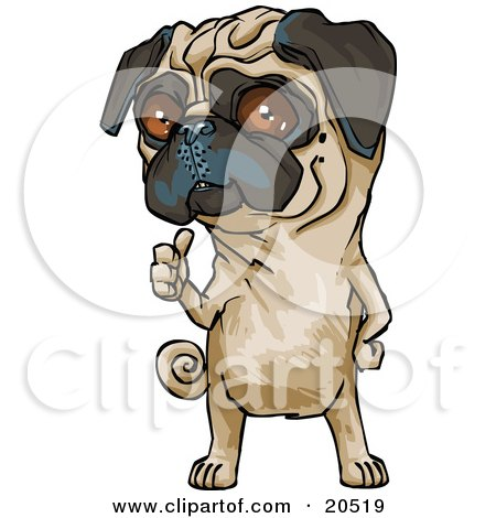 Clipart Illustration of a Cute Brown Eyed Pug Dog Hitchhiking And Standing On His Hind Legs by Tonis Pan