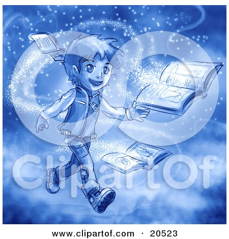 Clipart Illustration of a Boy Surrounded By Magic Dust, Reading Books by Tonis Pan