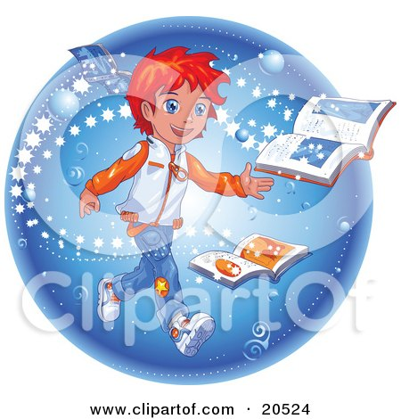 Clipart Illustration of a Red Haired Manga Boy Reading A Magic Book As Stars Emerge From The Pages by Tonis Pan