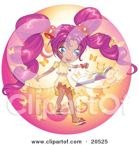 Clipart Illustration of a Surprised Manga Girl With Pink Hair Reading A Book And Smiling While Butterflies Emerge Magically From The Pages by Tonis Pan