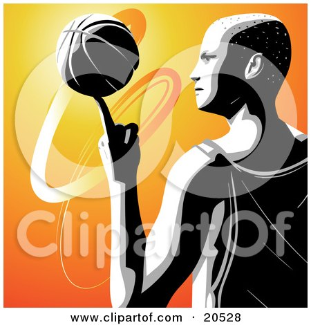 Clipart Illustration of a Talented Pro Basketball Player In Profile, Spinning The Ball On The Tip Of His Pointer Finger by Tonis Pan