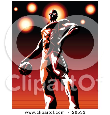 Pro Basketball Player Standing Proudly On The Court With The Ball In His Hand Posters, Art Prints
