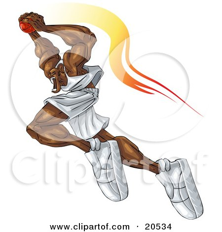 Clipart Illustration of a Ferocious Basketball Player Flying Through The Air With The Ball Over His Head, About To Make A Slam Dunk During A Game by Tonis Pan