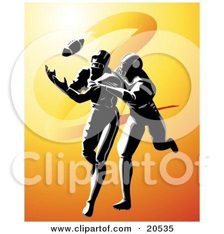 Clipart Illustration Of A Football Player Being Tackled While Running To Catch A Ball