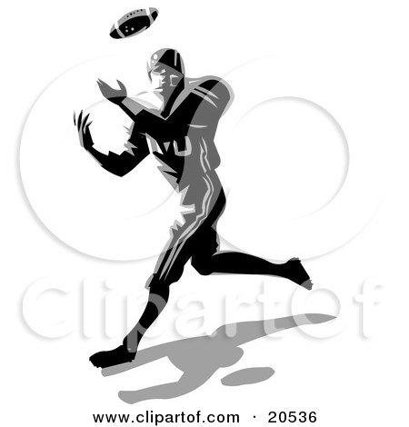 Clipart Illustration of an Athletic American Football Player Catching A Ball During A Game by Tonis Pan