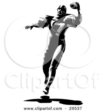 Clipart Illustration of an American Football Player Running And Preparing To Throw The Ball During A Game by Tonis Pan