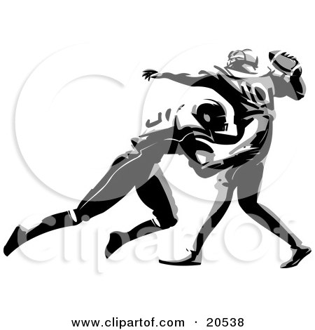 Clipart Illustration Of A Football Player Tackling His Opponent Who Is About To Throw The Ball During A Game