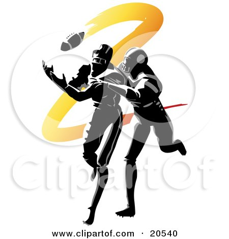 Footballer Running To Catch A Ball While Being Tackled During An American Football Game Posters, Art Prints