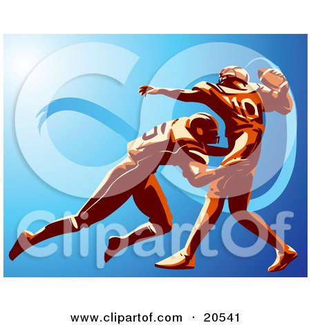 Clipart Illustration Of An American Football Player Trying To Throw A Ball While Being Tackled By His Opponent