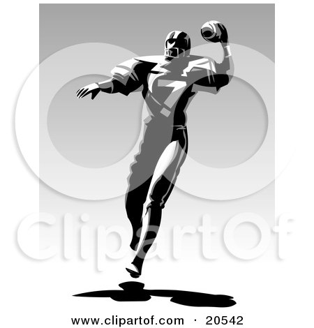 Clipart Illustration of a Football Player Throwing A Ball And Running During A Game by Tonis Pan