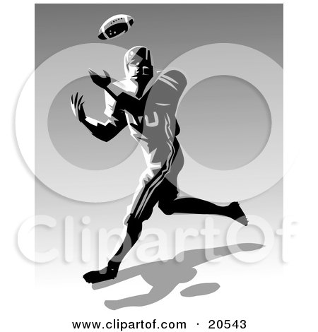 Clipart Illustration of a Football Athlete Rushing To Catch A Ball During A Game by Tonis Pan