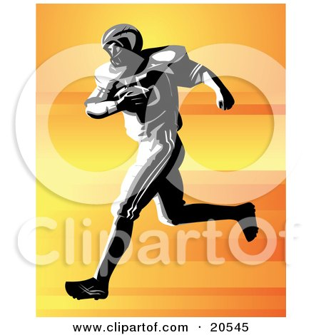 Clipart Illustration Of A Strong Football Player Holding The Ball To His Chest While Running During A Game