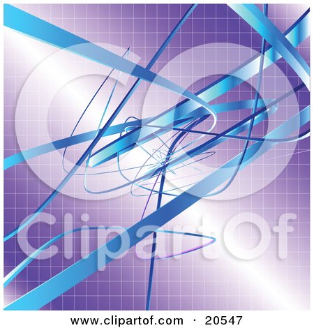 Clipart Illustration of a Background Of Blue Tape Tangling, Curving And Winding Over A Purple Grid Background by Tonis Pan