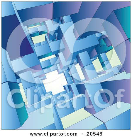 Clipart Illustration of a Background Of Blue, Green And Purple Cubes Creating An Open Passage by Tonis Pan