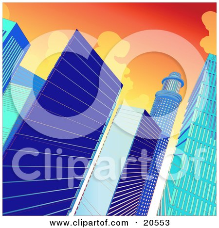 Clipart Illustration of Blue Highrise Glass Buildings Towering Against A Sunset Sky In A City by Tonis Pan