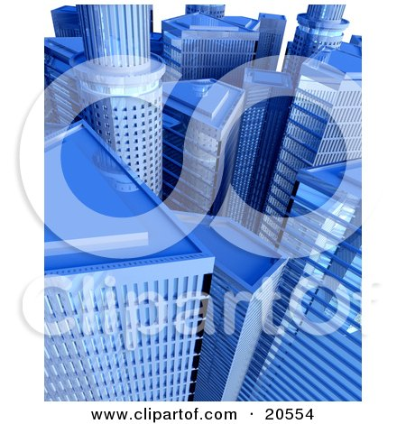 Clipart Illustration of a Cityscape Of Blue Skyscrapers And Highrises by Tonis Pan