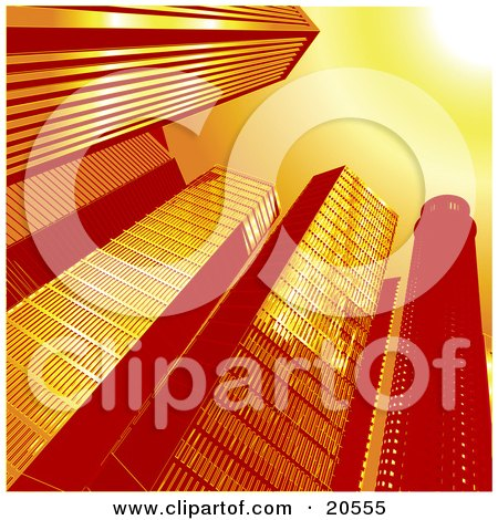 Clipart Illustration of an Upwards View Of Tall Glass Skycraper Buildings In A City, A Sunburst In The Corner by Tonis Pan