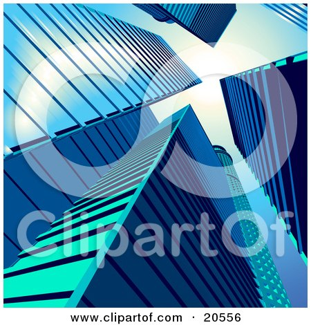 Clipart Illustration of a View Of Tall Blue Skyscrapers In A Cityscape by Tonis Pan