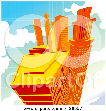 Clipart Illustration of Tall Orange City Skyscrapers Up High In The Clouds by Tonis Pan