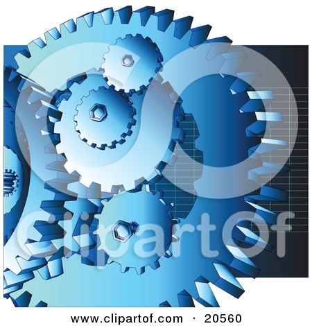 Clipart Illustration of a Group Of Blue Cogs And Gears At Work Over A Dark Blue Background With Grids by Tonis Pan