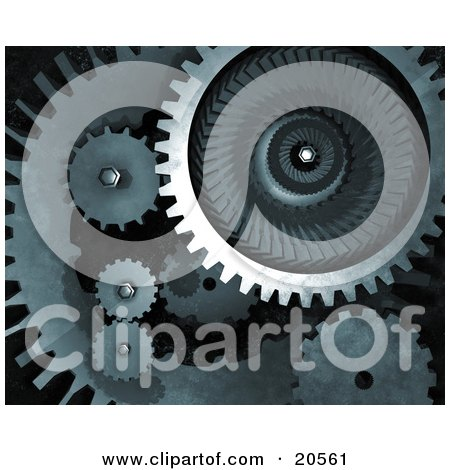 Clipart Illustration of Metallic Mechanical Gears Spinning Over A Dark Background, Symbolizing Teamwork by Tonis Pan