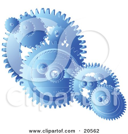 Clipart Illustration of Blue Gears And Cogs Spinning Over A White Background, Symbolizing Teamwork by Tonis Pan