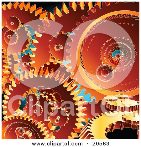 Clipart Illustration of a Background Of Orange Gears Crowded Into A Machine by Tonis Pan