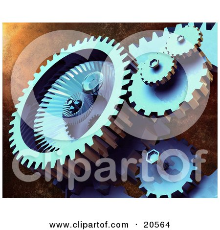 Clipart Illustration of Tough Mechanical Gears Hard At Work, Spinning Over A Textured Background by Tonis Pan