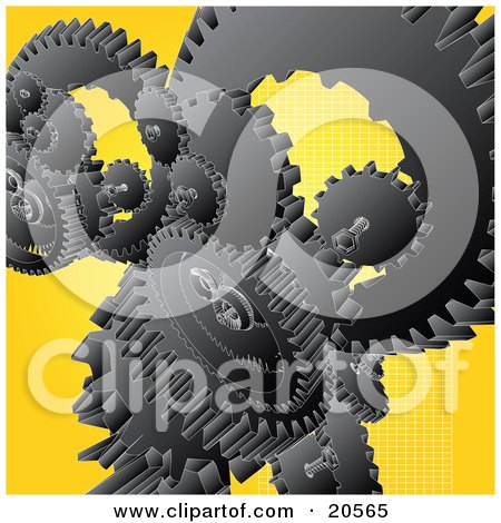Clipart Illustration of a Group Of Black Gears And Cogs Winding Over A Yellow Background by Tonis Pan