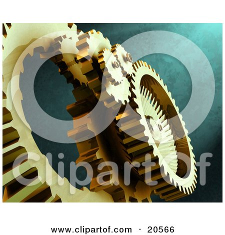 Clipart Illustration of Golden Gears At Work Over A Textured Green Background by Tonis Pan