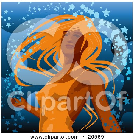 Clipart Illustration of a Beautiful Sexy Lady With Orange Hair, Wearing A Tight Dress And Dancing In Confetti Over Blue by Tonis Pan